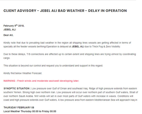 Client Advisory - Jebel Ali Bad Weather - Delay In Operation