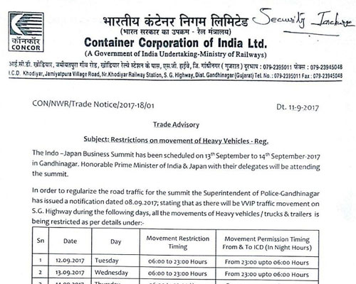 Trade Advisory - Restrictions On Movement Of Heavy Vehicles-REG